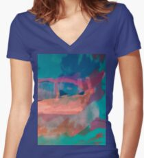 Abstract Laundry Boat in Blue, Green, Orange and Pink Women's Fitted V-Neck T-Shirt