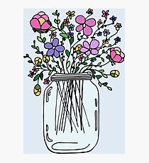 Mason Jar with Flowers Photographic Print
