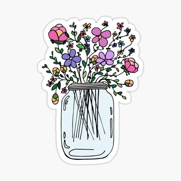Einmachglas mit Blumen Sticker