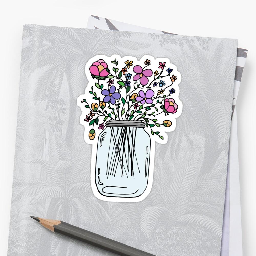 PegatinaTarro de masón con flores Delante
