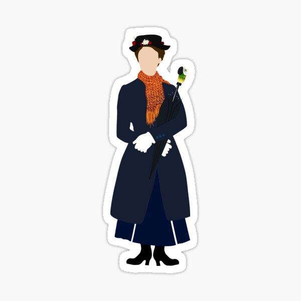 Faceless Mary Poppins, digital illustration Sticker