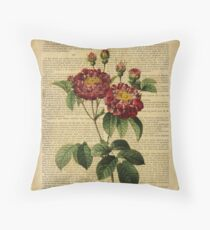 Botanical print, on old book page - flowers - roses Throw Pillow