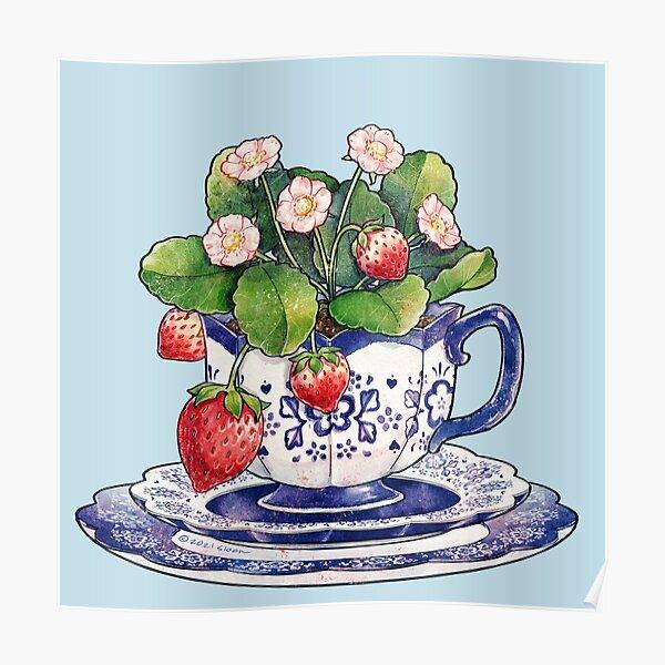 Tasse à thé avec fraisier Poster