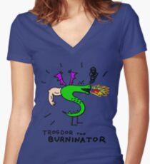 Trogdor, The Burninator Women's Fitted V-Neck T-Shirt