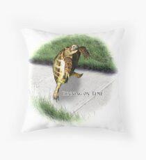 Tortoise - Running on time Throw Pillow