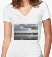 Yachts and Sailboats - the Silvery Calmness of Grays Women's Fitted V-Neck T-Shirt