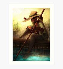 Lonely river Ferryman accompanied by a Cardinal Art Print