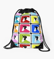 Paint Horse with Blue Eye Block Color Drawstring Bag