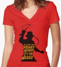 Indiana Jones:  It's the Mileage Women's Fitted V-Neck T-Shirt
