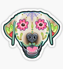 Labrador Retriever in Yellow - Day of the Dead Lab Sugar Skull Dog Sticker