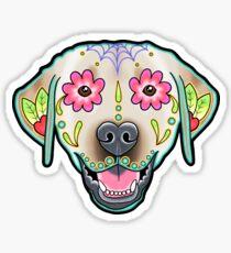 Labrador Retriever in Yellow - Day of the Dead Lab Sugar Skull Dog Sticker