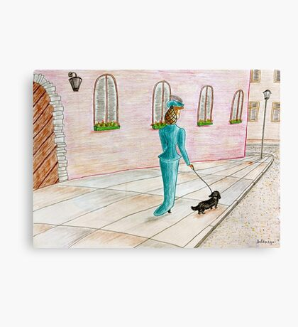 Lady with a dog Canvas Print