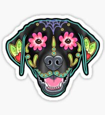 Labrador Retriever in Black- Day of the Dead Lab Sugar Skull Dog Sticker