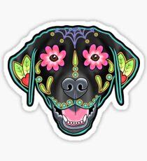 Labrador Retriever in Black- Day of the Dead Lab Sugar Skull Dog Sticker