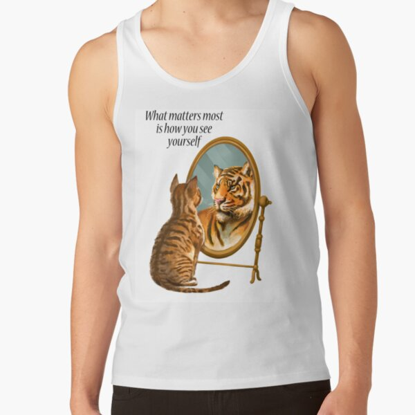 Cat and Tiger Mirror Message Tank Top