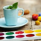 Art Workshop With Watercolor And Crayons. Tea With Mint. by yana-shonbina