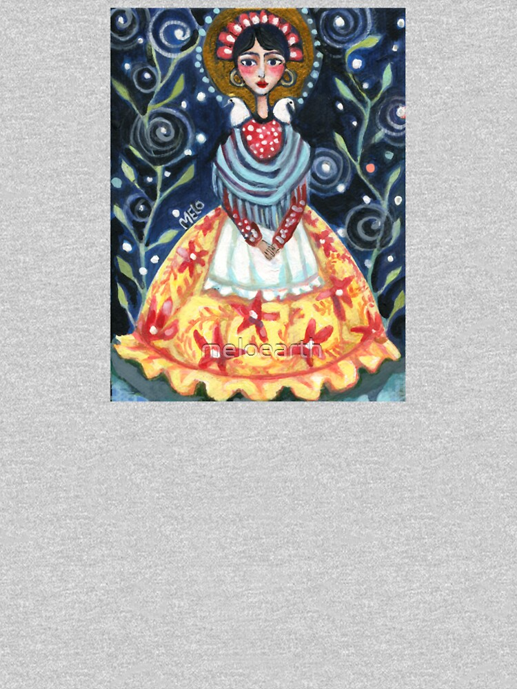 frida kahlo spring floral with birds, swirls, meloearth portrait, celebrity cute woman, mexican artist, flowers foliage                              by meloearth
