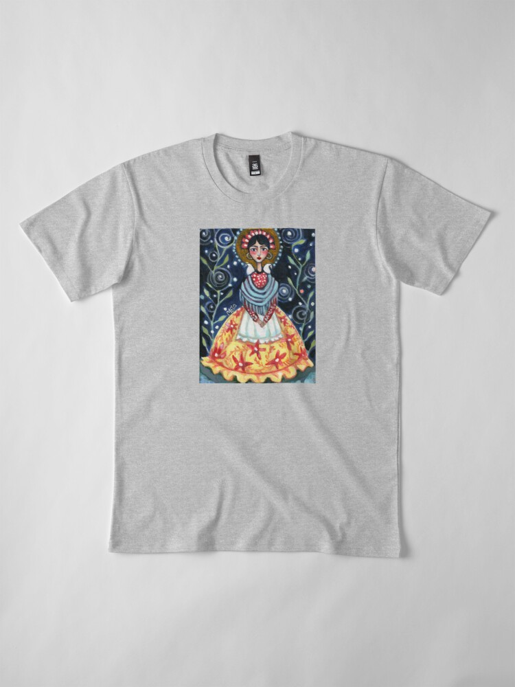 Alternate view of frida kahlo spring floral with birds, swirls, meloearth portrait, celebrity cute woman, mexican artist, flowers foliage                              Premium T-Shirt