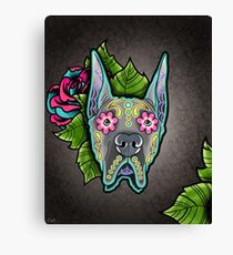 Great Dane - Cropped Ear Edition - Day of the Dead Sugar Skull Dog Canvas Print