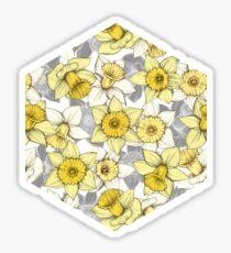 Daffodil Daze - yellow & grey daffodil illustration pattern Sticker