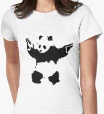 Camiseta entallada para mujer Banksy - Panda con armas de fuego