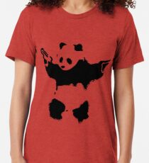 Banksy - Panda mit Waffen Vintage T-Shirt