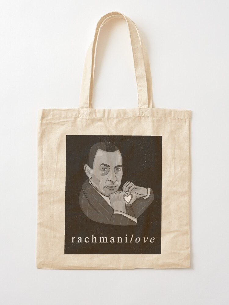 "Alternate view of Rachmaninov ""RachmaniLOVE"" classical composer funny Tote Bag"