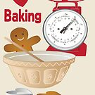 Love Baking Retro Style Poster by Carolynne