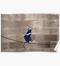 Banksy - Tightrope Rat Poster