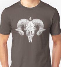Illustrated Goat Skull - white Unisex T-Shirt