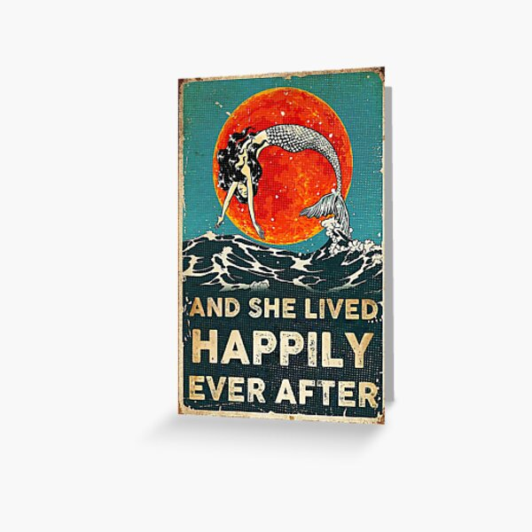 Vintage Mermaid And She Lived Happily Ever After Greeting Card