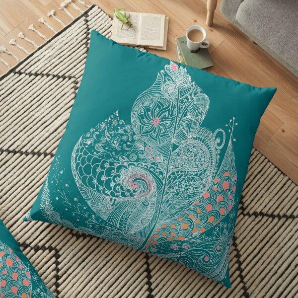 Feather Light Grey Outline - Orange Pastel Fill, Fine Details, Exclusive Art Floor Pillow
