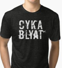 Cyka Blyat (White Version) Tri-blend T-Shirt