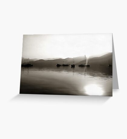 Gulets In Greyscale Greeting Card