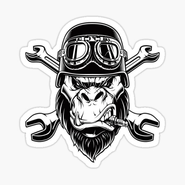 furious gorilla wearing motorcycle helmet  Sticker