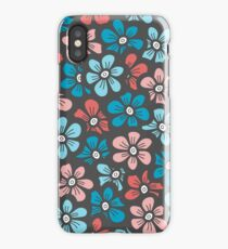 Cute blue and orange floral pattern iPhone Case/Skin