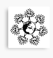 Earth Tree People (black) Canvas Print