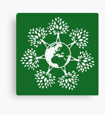 Earth Tree People (white) Canvas Print