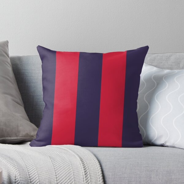 Large NAVY BLUE and RED Vertical STRIPES Throw Pillow