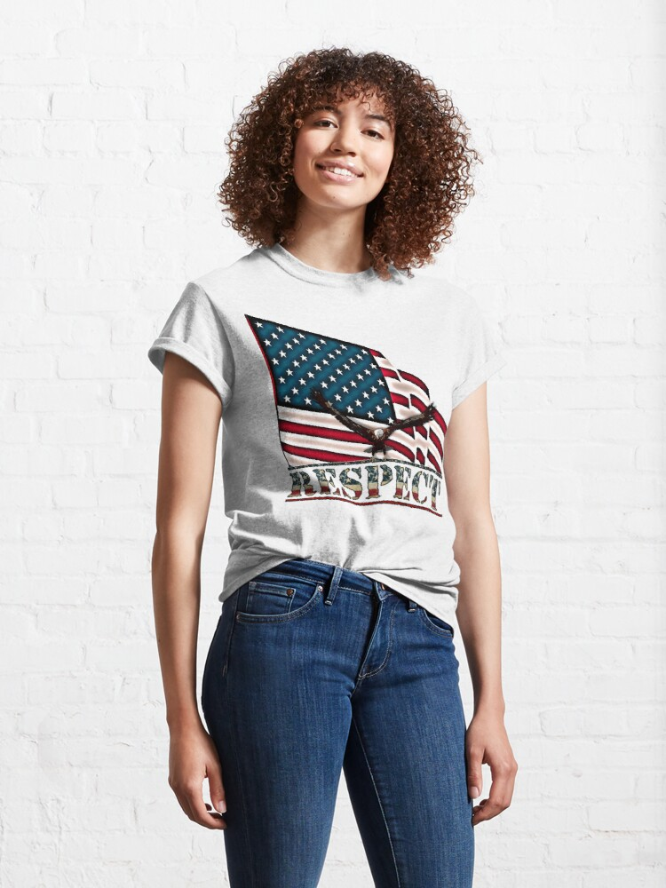 Alternate view of Patriotic Respect w/Eagle & USA Flag Classic T-Shirt