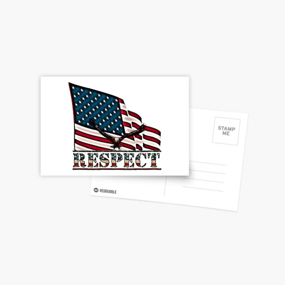 Patriotic Respect w/Eagle & USA Flag Postcard