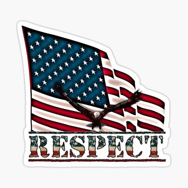 Patriotic Respect w/Eagle & USA Flag Sticker