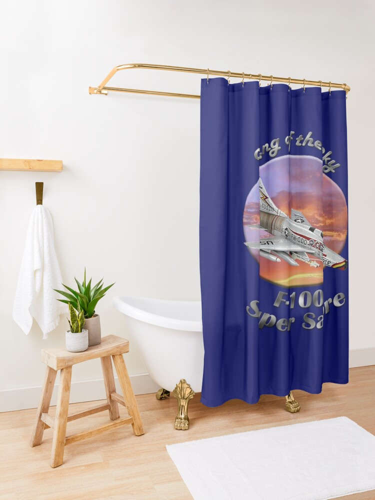 Alternate view of F-100 Super Sabre King Of The Sky Shower Curtain
