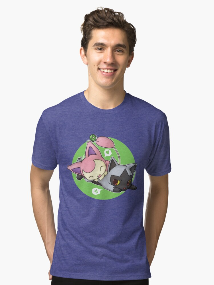 skitty and poochyena tri blend t shirt by poke monsters