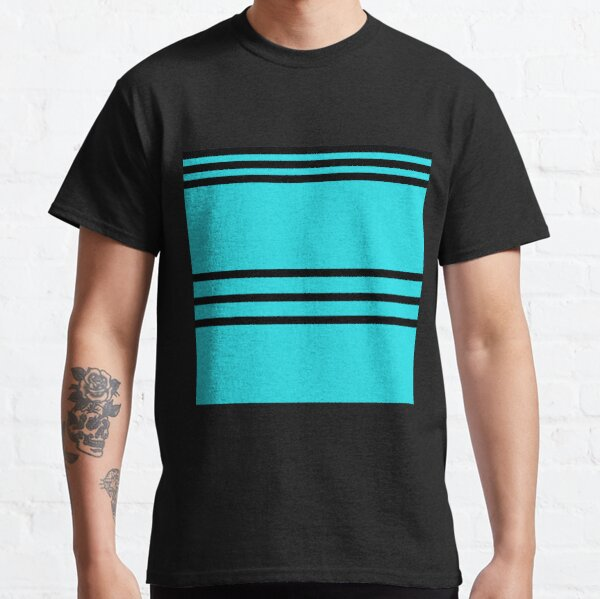 Aqua blue black stripes Classic T-Shirt