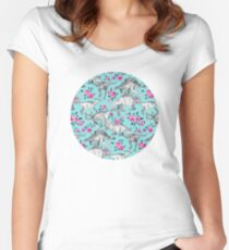 Dinosaurs and Roses – turquoise blue  Women's Fitted Scoop T-Shirt