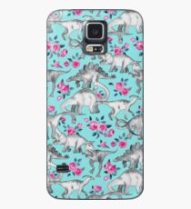 Dinosaurs and Roses – turquoise blue  Case/Skin for Samsung Galaxy