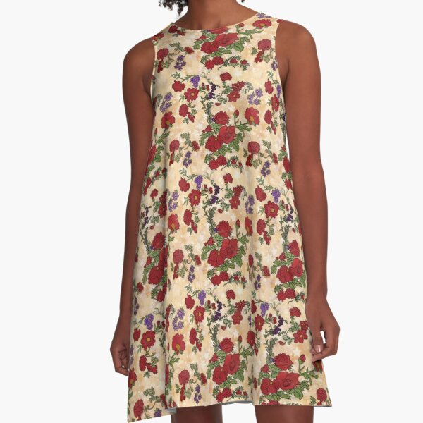 Red Cottage Rose on Yellow Gold  A-Line Dress