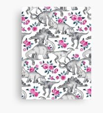 Dinosaurs and Roses – white Canvas Print