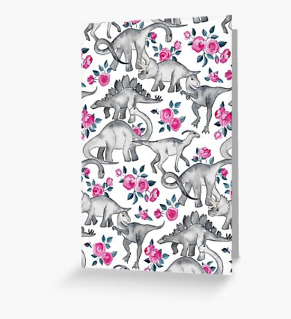 Dinosaurs and Roses – white Greeting Card
